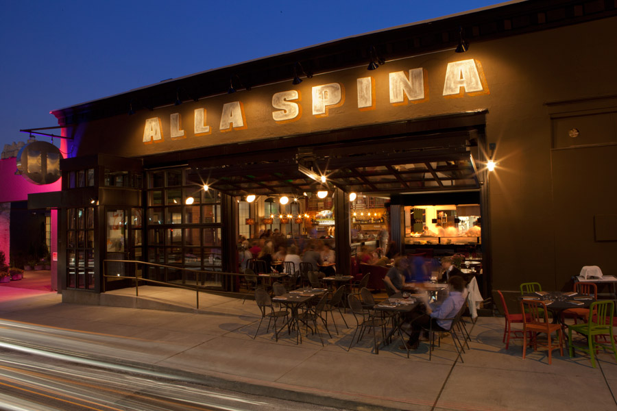Outdoor seating at Alla Spina