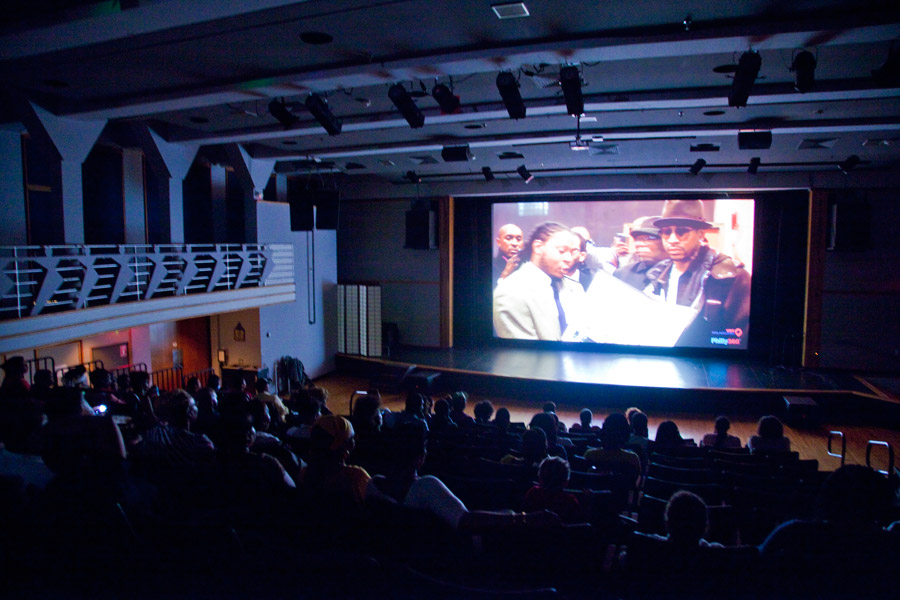 people watching a movie during the blackstar film festival