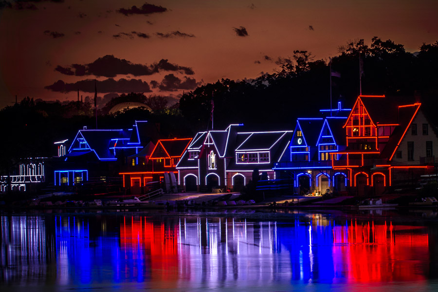 boathouse row in red, white and blue