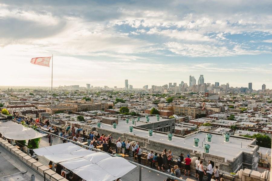 Folks enjoy skyline views at Bok Bar in Philadelphia