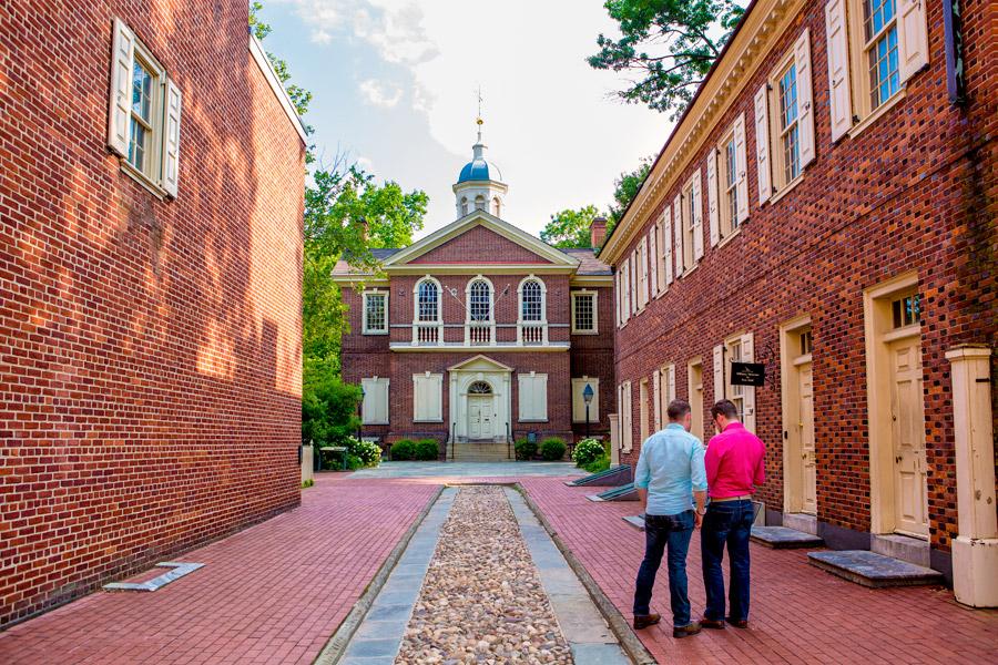 men outside carpenters' hall