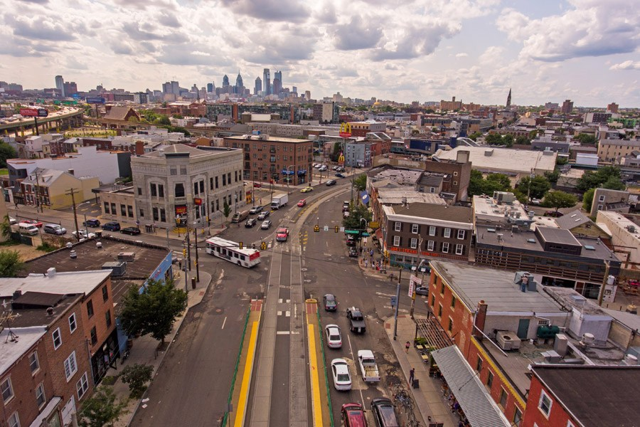 Aerial view of Fishtown neighborhood in Philadelphia.