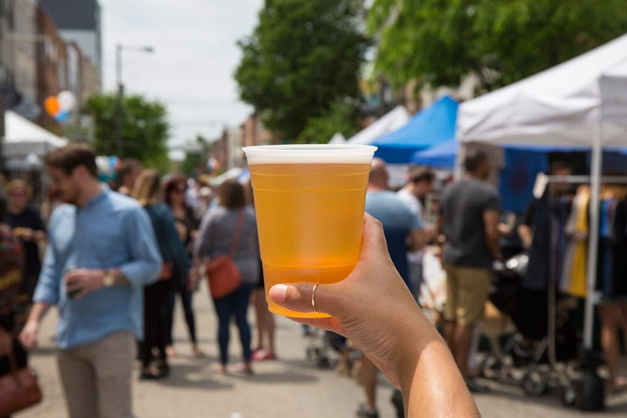 a beer at a festival in philadelphia