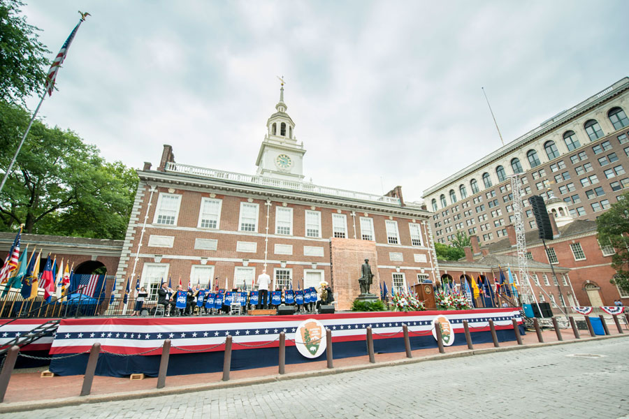 celebration of freedom ceremony outside independence hall in philadelphia on july 4th