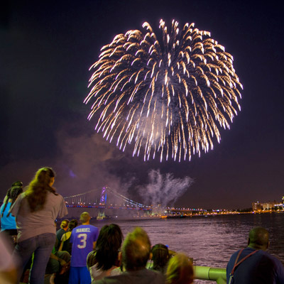fireworks over the delaware river waterfront
