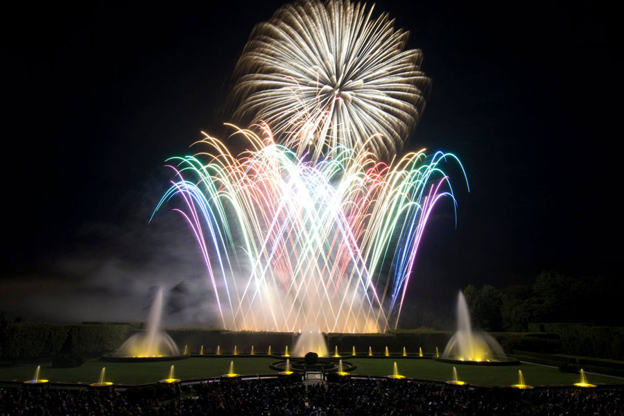 fireworks and the main fountain garden at longwood gardens