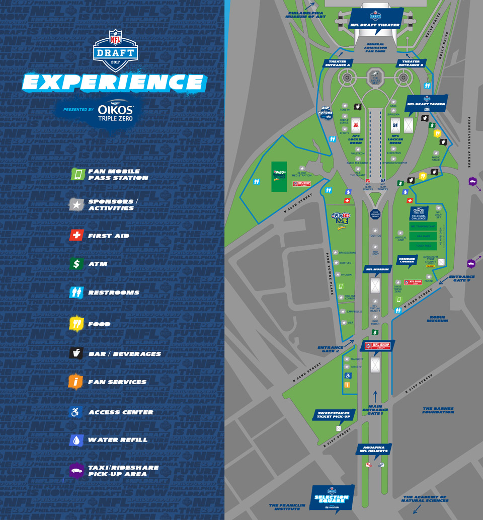 nfl draft experience map in philadelphia