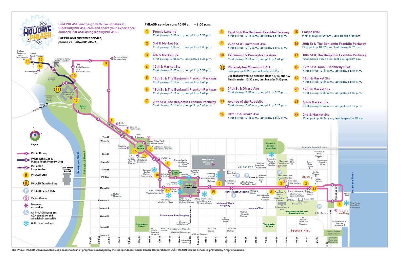 Philadelphia PHLASH Downtown Bus Loop Visit Philadelphia – Philadelphia Tourist Attractions Map