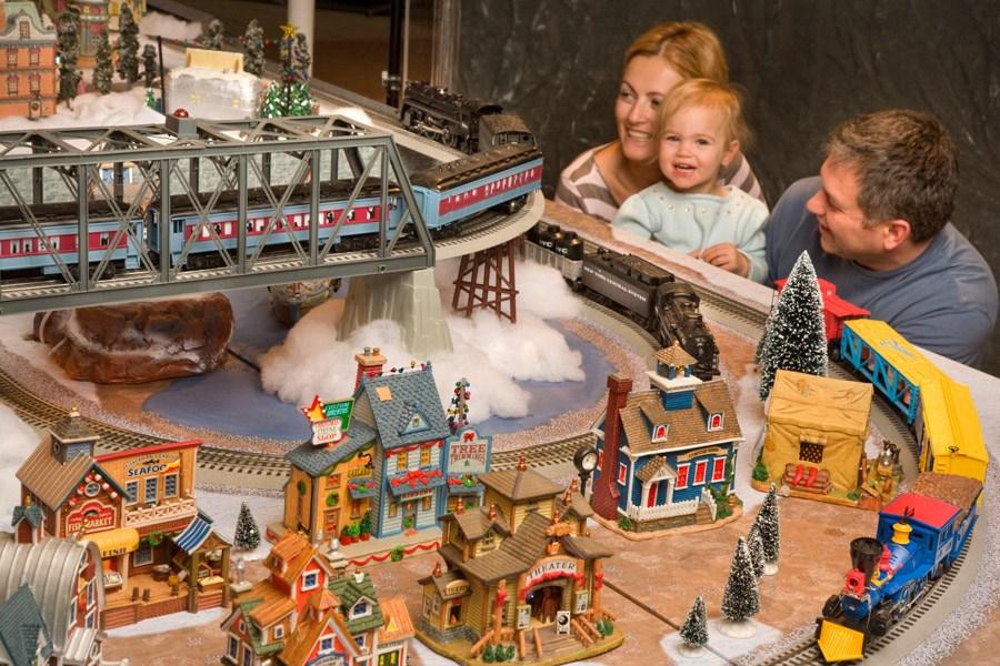 The holiday railroad display at Reading Terminal Market
