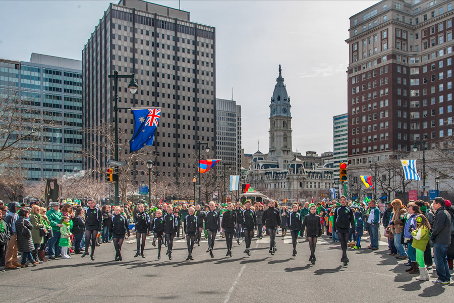 The Philadelphia St. Patrick's Day parade along the Ben Franklin Parkway