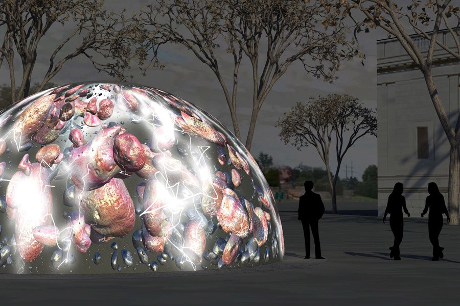 Rendering of Winter Fountains on the Benjamin Franklin Parkway