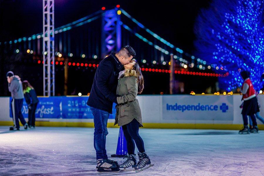 couple at blue cross riverrink winterfest in philadelphia