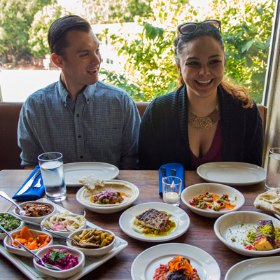 a couple dines at zahav
