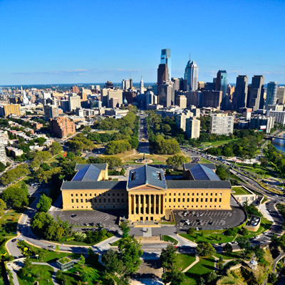 philadelphia skyline and philadelphia museum of art