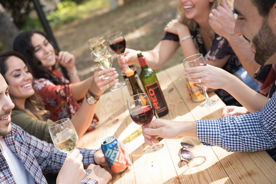 People enjoying wine at Chadds Ford winery