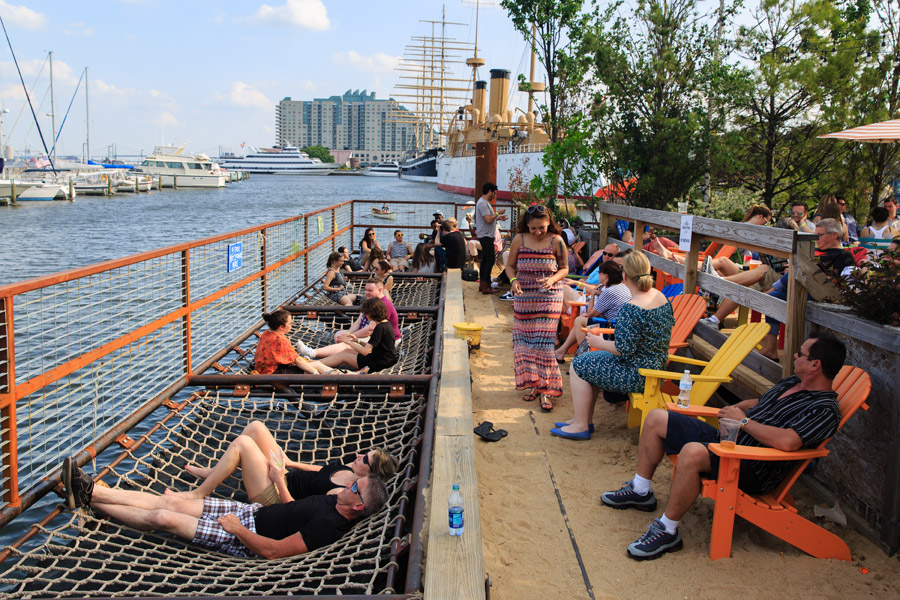 hammocks over the water at spruce street harbor park