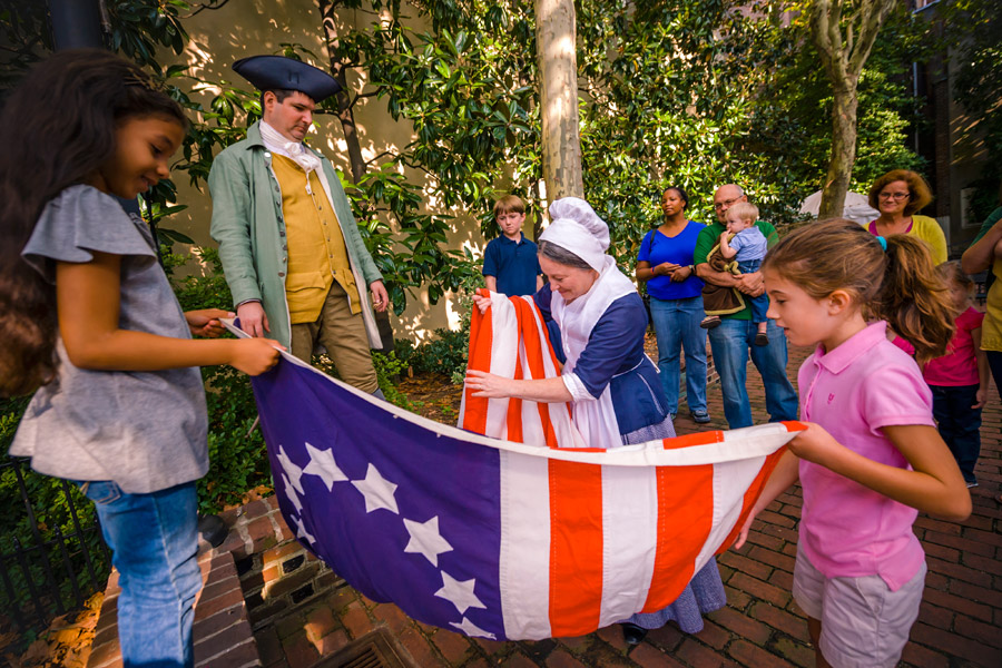 Flag raising at Betsy Ross House
