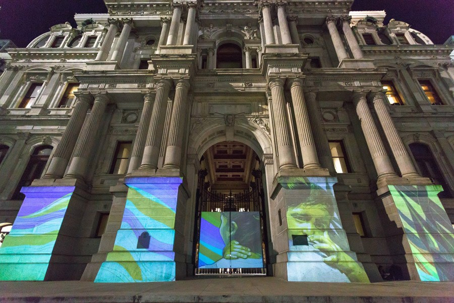 A public art installation at Dilworth Park for Monument Lab