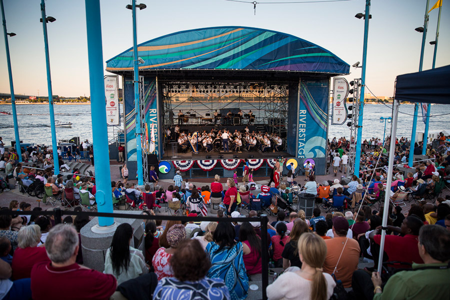 us army band performs on the delaware river waterfront
