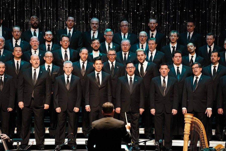 The Philadelphia Gay Men's Chorus performing on stage at Prince Theater.