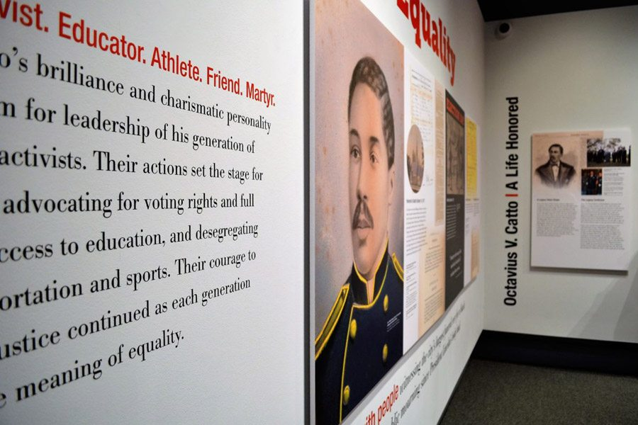The exhibit Taking a Stand for Equality: Octavius V. Catto inside the Philadelphia History Museum.