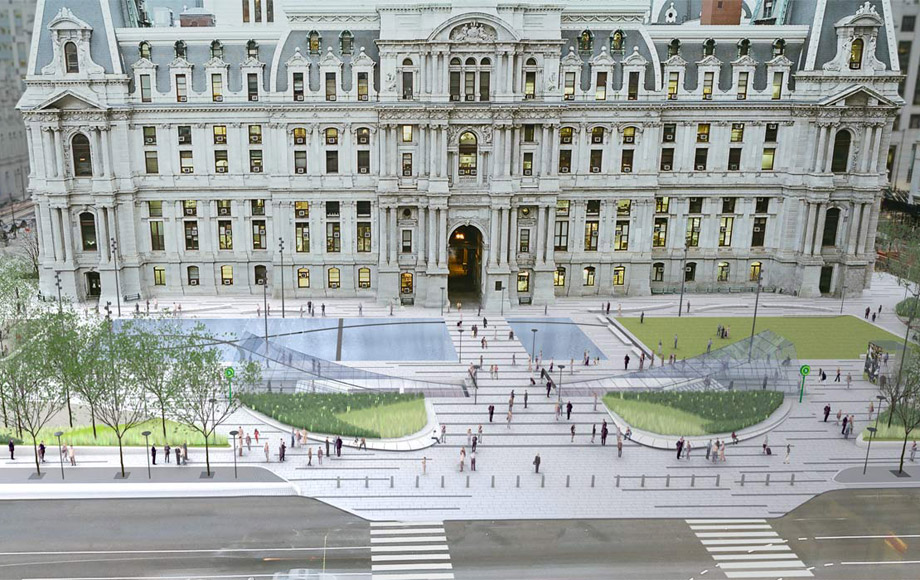 rendering of the new dilworth park in Philadelphia
