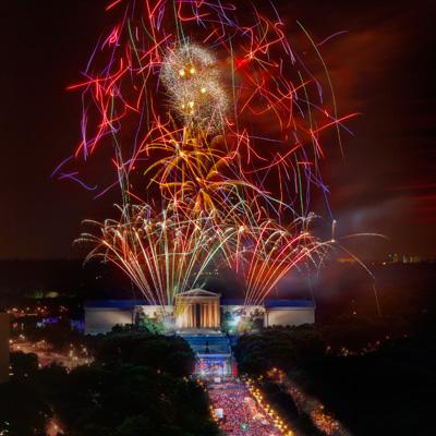 fireworks over the philadelphia museumof art