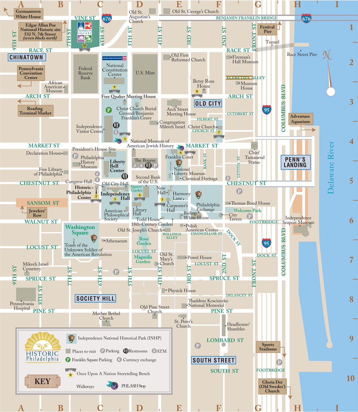 Getting Around Philadelphia Walking Biking Public – Tourist Attractions Map In Pa