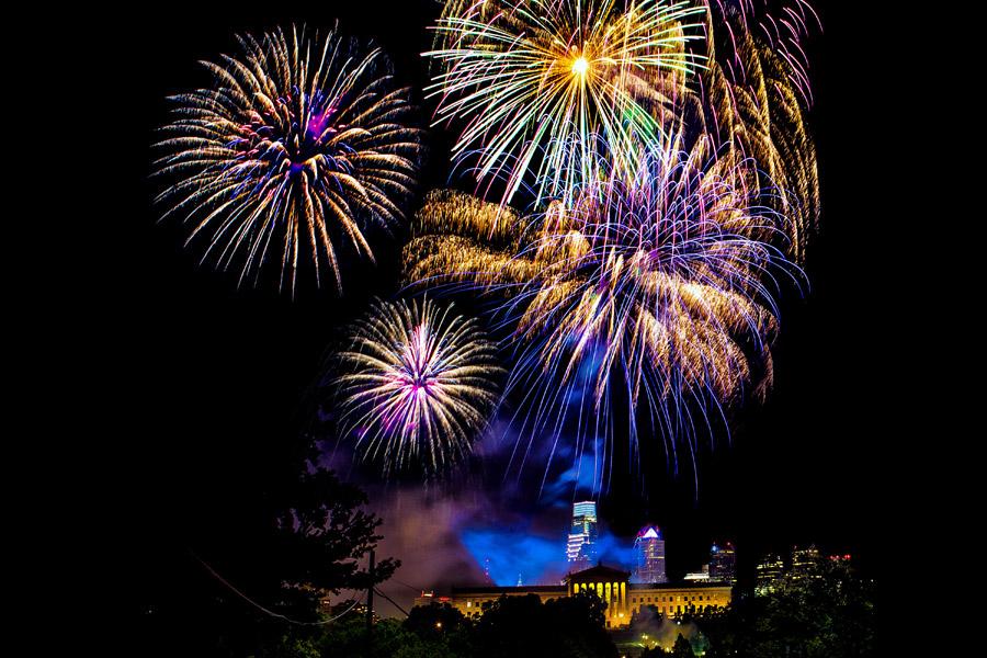 fireworks over philadelphia museum of art