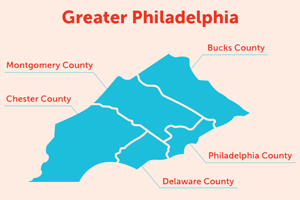 Map of five county Philadelphia region